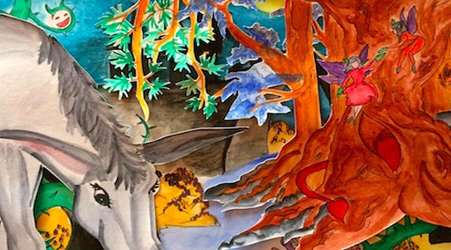 Création Livre objet Mythes et légendes d'aude Le théâtre de l'hyménée Linda Yi Créatrice Graphique Illustratrice